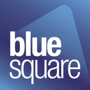 Blue-square real agence immobilière logotype